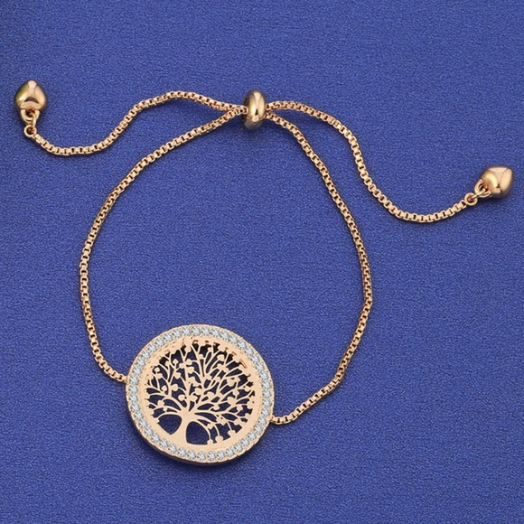 Jewelry - NWT Rose Gold Round Family Tree Of Life Bracelet